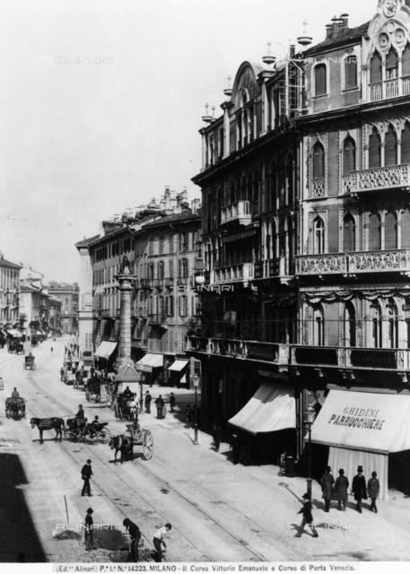 View of Corso Vittorio Emanuele II and Corso di Porta Venezia in Milan.