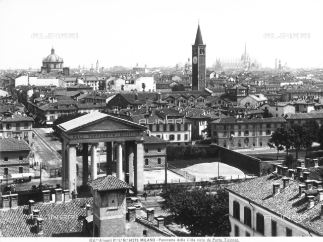 View of Milan seen from Porta Ticinese