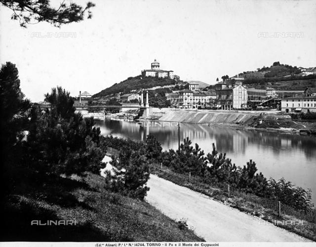 Panoramic glimpse of the Po, the Monte dei Cappuccini and the Maria Theresa Bridge (or Iron Bridge) in Turin