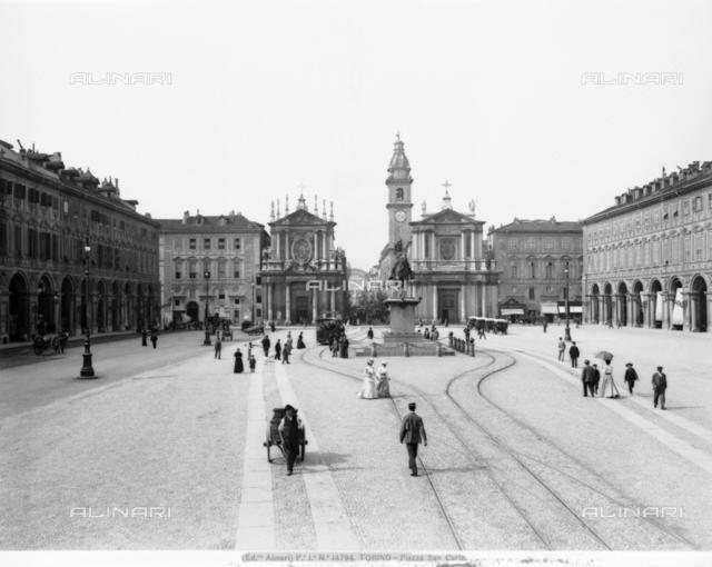 View of San Carlo square at Turin