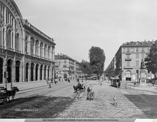 View of Station square and corso Vittorio Emanuele at Turin