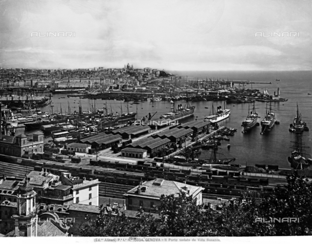 The port of Genoa seen from Villa Rosazza