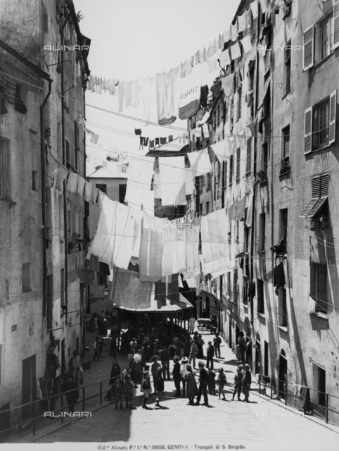 View of the street of S.Brigida in Genoa