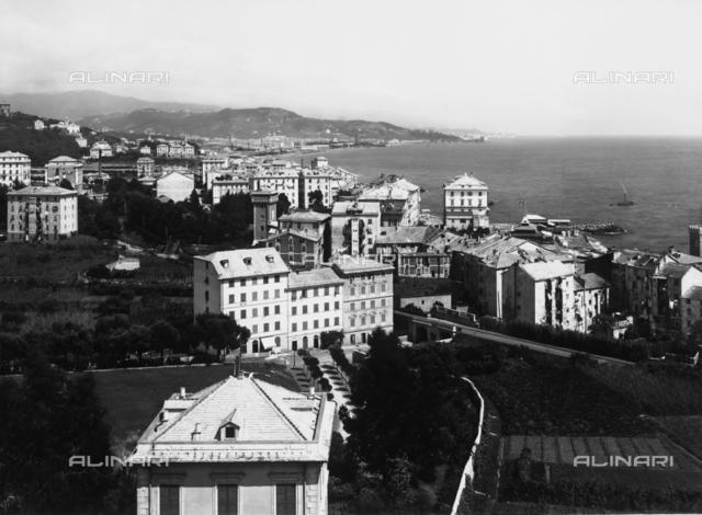 Panorama of Pegli, near Genoa. In the distance, Sanpierdarena is visible