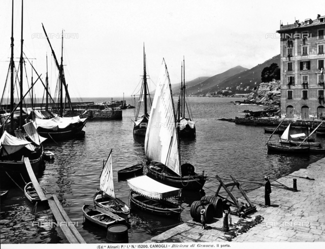 Sailboats moored in the port of Camogli, locality near Genoa