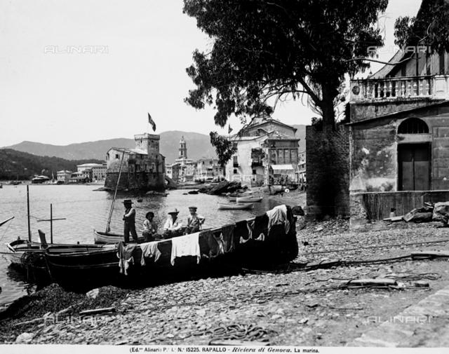 Boat of the beach in Rapallo