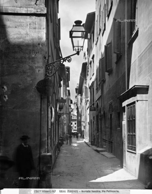 View of via Pellicceria in the Mercato Vecchio in Florence