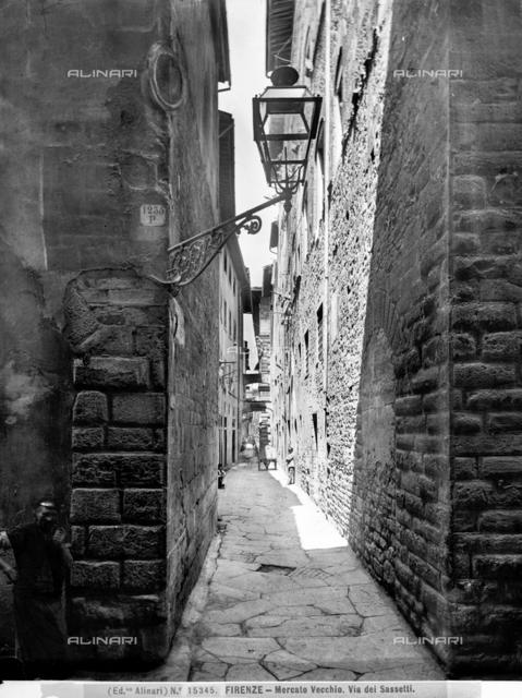 View of via dei Sassetti in the Mercato Vecchio in Florence