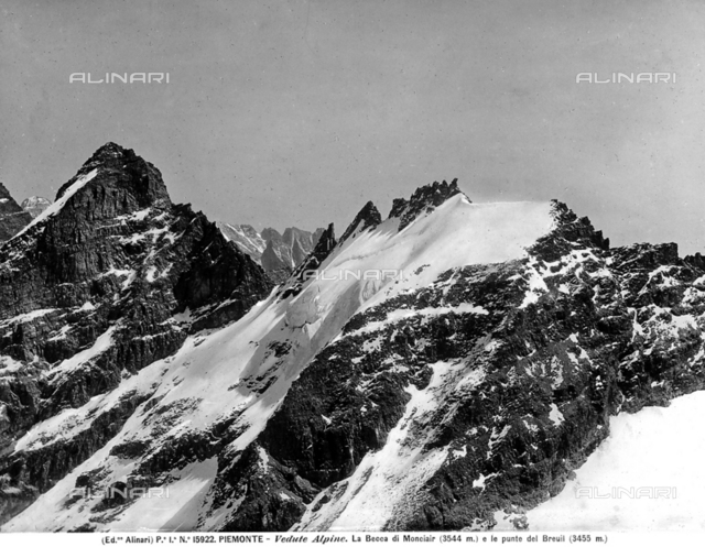 View of Monciair Pass with Breuil Point, Piedmont.
