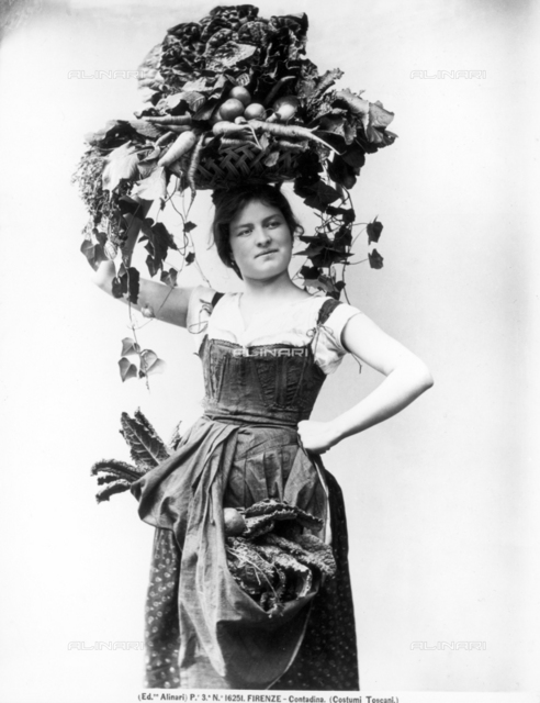 Feminine portrait in traditional Tuscan peasant dress