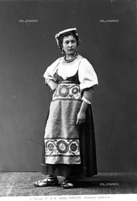 Portrait of a woman dressed in tradional Calabrese costume