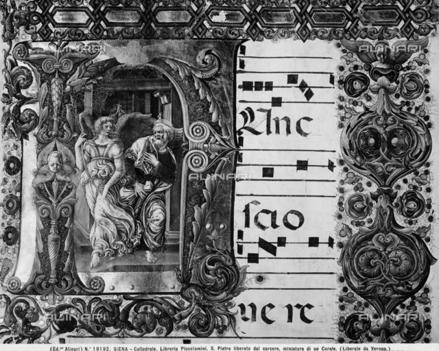 St Peter released from prison, Choir Book, Piccolomini Library, Siena