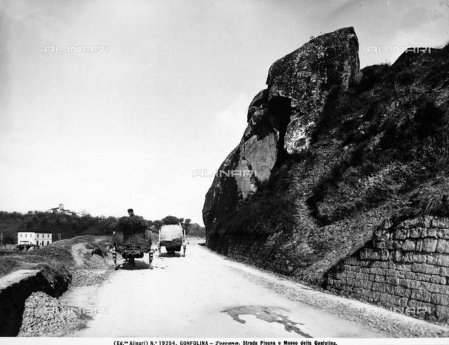 View of the Pisan road to Masso of Gonfolina (or Golfolina) near Ponte a Signa in the province of Florence. Two carts transporting hay are visible on the road.