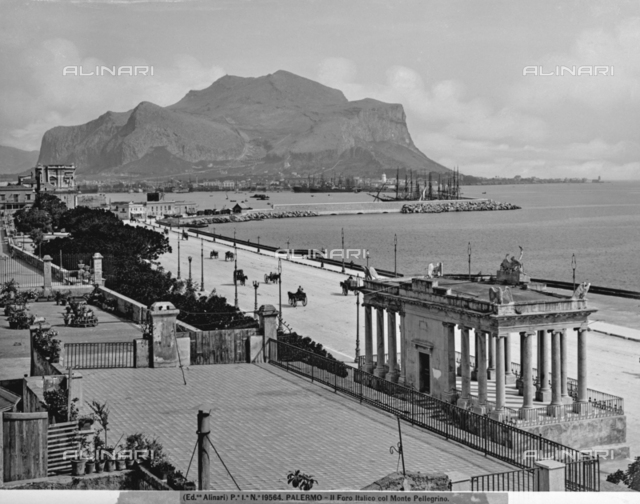 View of the Foro Italico and Mount Pellegrino, in Palermo