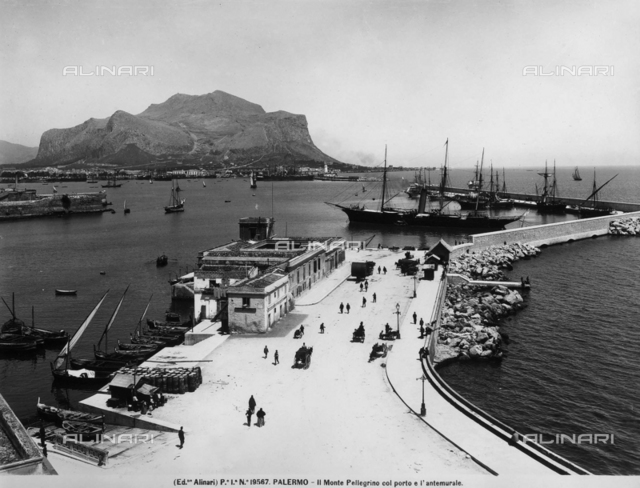 View of the port and breakwater of Palermo with Mount Pellegrino in the background