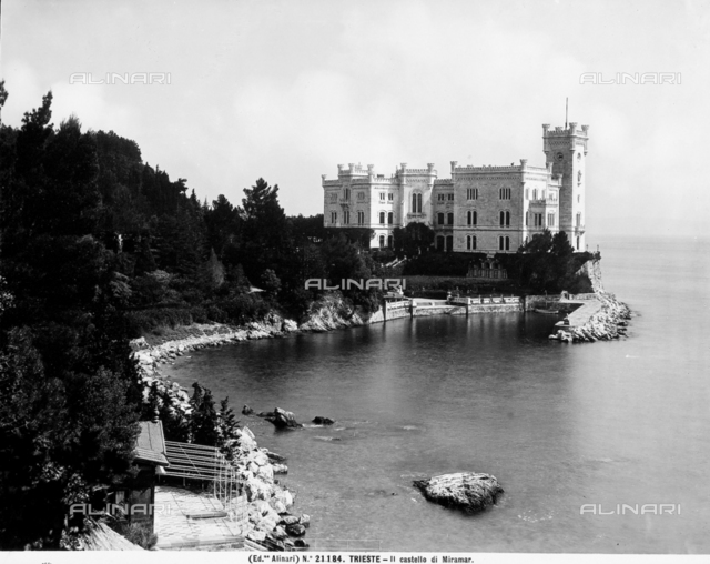 View of the Trieste coast with the Miramare Castle.