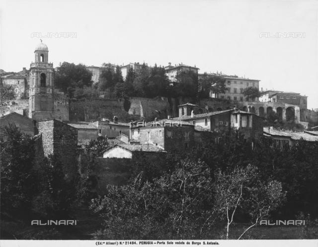 The Porta Sole Mount seen from Borgo Sant'Antonio, in Perugia
