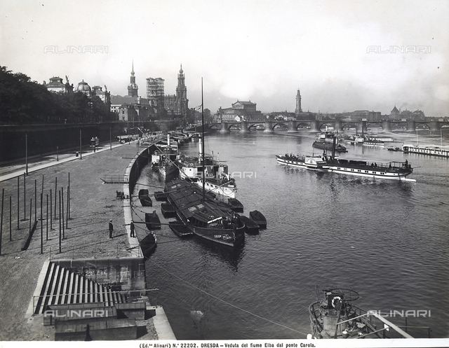 View with people of the Elbe River from the Carola Bridge, Dresden