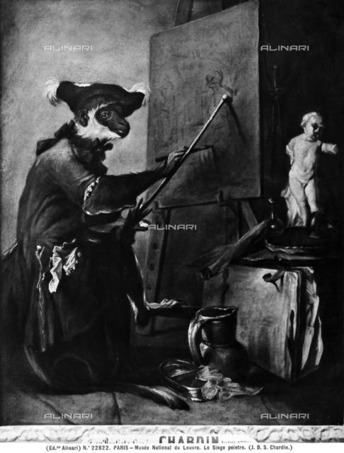 The monkey painter, Louvre Museum, Paris.