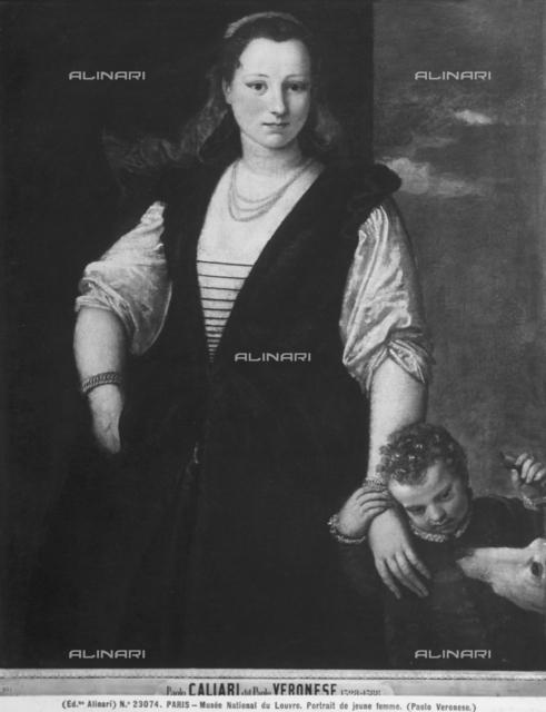 Female portrait with child and dog, Louvre Museum, Paris.
