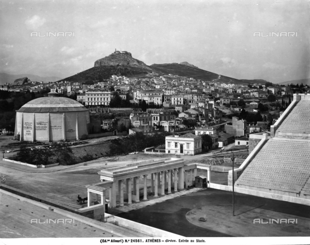 View of Athens with the entrance to the stadium.