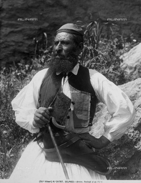Portrait of a Greek man in traditional dress. Delphi, Greece