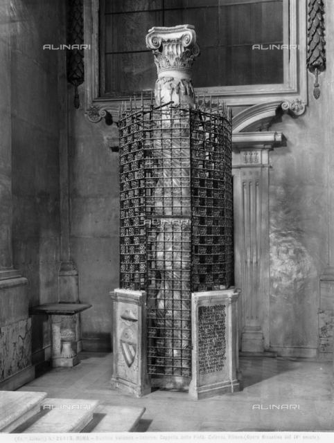 Column decorated with bas-relief grapevine, according to tradition, Jesus leaned back against this column in the Solomon's Temple in Jerusalem. Basilica of S. Pietro, Vatican City