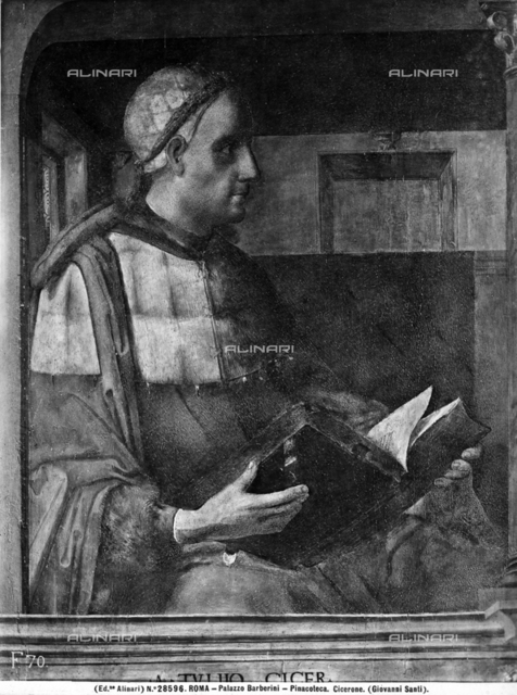 Cicerone. Painted on panel by Giusto di Gand, located in the wardrobe of Duke of Montefeltro, in Ducal Palace of Urbino
