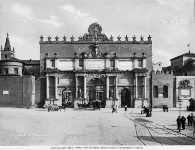 Exterior view, Porta del Popolo, Piazza del Popolo, Rome