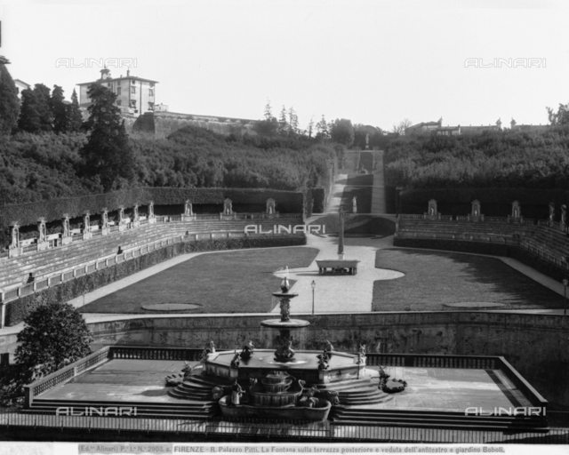 Fontana del Carciofo (Artichoke Fountain), terrace of the first floor courtyard, Pitti Palace, Boboli Gardens, Florence