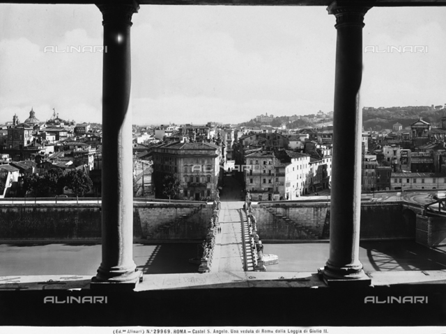 View of the city of Rome from a loggia in Castel S.Angelo in Rome
