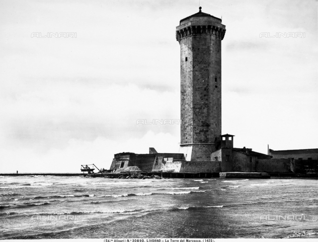 The Marzocco tower in the Medici port of Leghorn