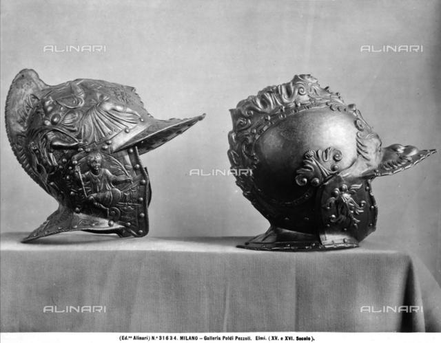 Helmet with allegorical figures, Museum of Poldi Pezzoli, Milan.