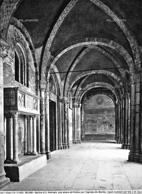 Portico of the atrium in front of the Basilica of Sant'Ambrogio, Milan