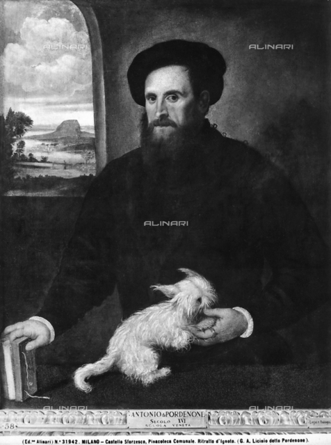 Portrait of an anonymous man with a puppy. Castello Sforzesco Portrait Gallery, Milan.