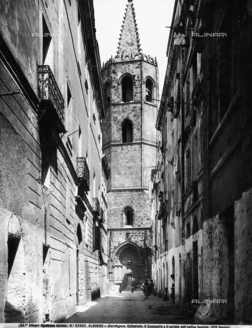 Bell tower of the Cathedral of Santa Maria, Alghero, Sassari.