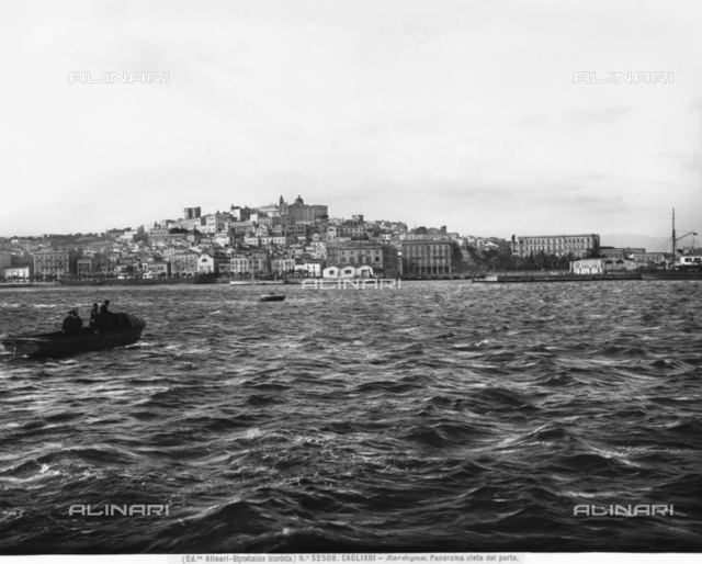 Panoramic view of the port of the city of Cagliari, Sardinia.