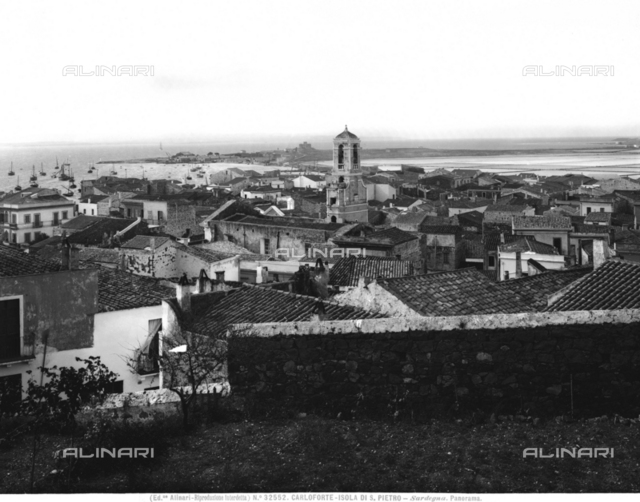 Panorama of the city of Carloforte, capital of the island of San Pietro, with a view of the port in the background, Sardinia
