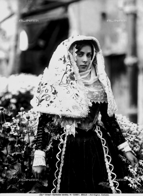 A woman of Osilio in traditional Sardinian dress