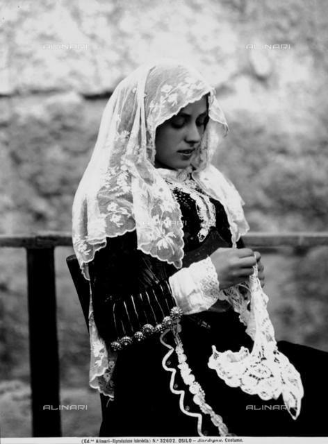 A woman of Osilo in traditional Sardinian dress