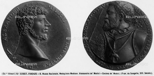 Medals depicting Alessandro and Cosimo de'Medici, Medal Collection, Museo del Bargello, Florence, Tuscany