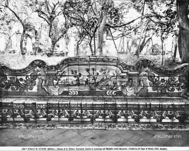Majolica bench, Giardino Rustico (rustic garden), cloister of the Clarisse, convent of Santa Chiara, Naples