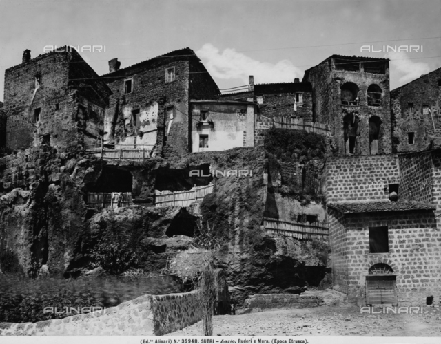 The old part of the town of Sutri, in the province of Viterbo. Ruins of the ancient Etruscan walls can be seen beneath it