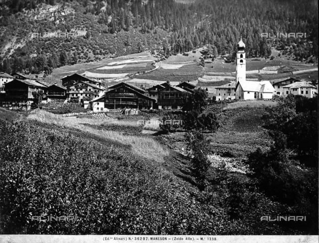 Panorama of the mountain town of Marenson