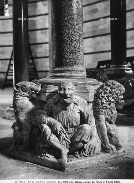 Base of central column of the pulpit of Nicola Pisano, Baptistry, Pisa