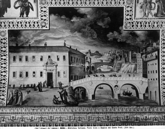 Ponte Sisto and the Hospice of the Hundred Priests; fresco in the Vatican Library