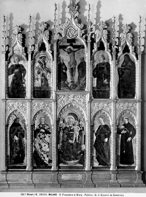 Polyptych with Saints, the Virgin enthroned with Child and the Crucifixion by Girolamo di Giovanni da Camerino. Brera Gallery, Milan