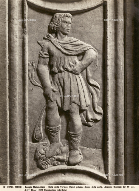 David with the head of Goliath, Entrance, Malatestian Temple, Rimini