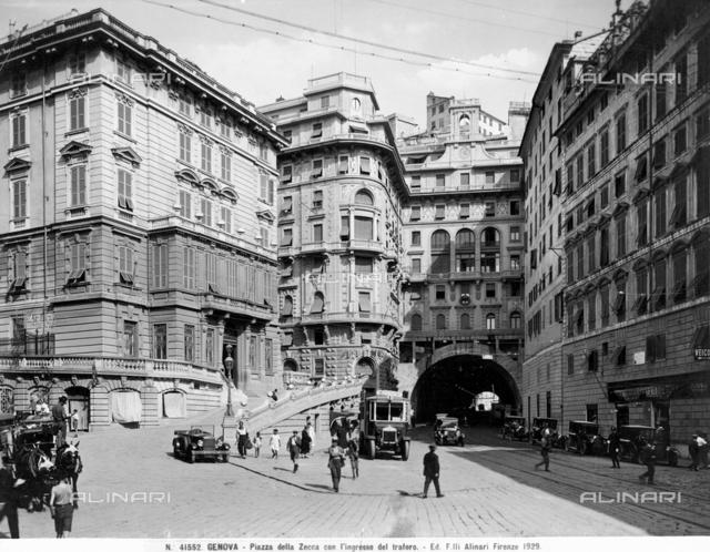 View of Piazza della Zecca in Genoa.