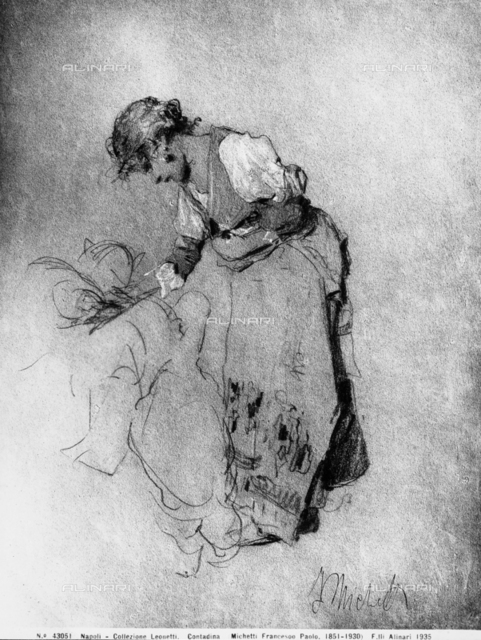 Peasant woman, drawing by Francesco Paolo Michetti